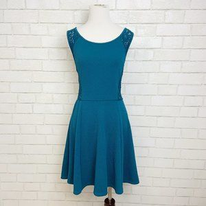 Socialite Teal peak-a-boo Lace Fit & Flare Dress